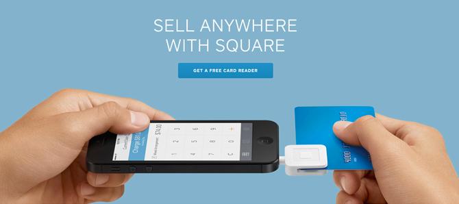 Square وهي قطعة الكترونية ملحقة بالآيفون، آيباد، يستخدم الموقع صورة واحدة فقط اوضحت الفكرة الكاملة لما هو المنتج وكيف يستخدم، وحجمة ولونة الطبيعي