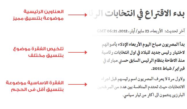 نموذج للتسلسل الهرمى للنصوص لخبر من موقع بي بي سي العربية