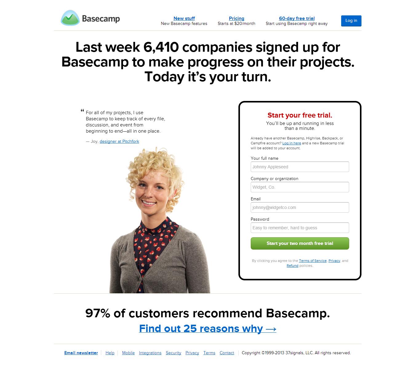 الصفحة الرئيسية لموقع Basecamp ومفهوم ال Fold
