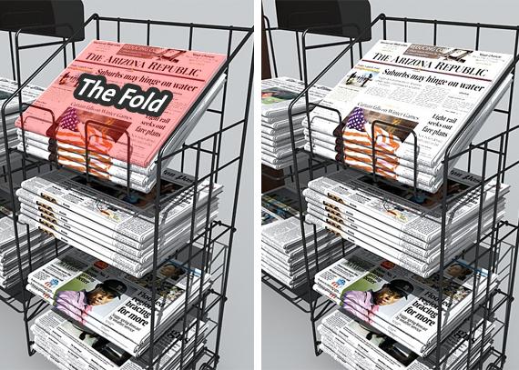 المصطلح بالأساس مأخوذ من الصحافة المطبوعة، فهو يشير الى ذلك الجزء من الصحيفة الذى يظهر عند بائع الجرائد والذى يشاهدة المارة، دون ان يفتحوا الصحفية