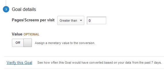 تفاصيل الهدف - Google Analytics