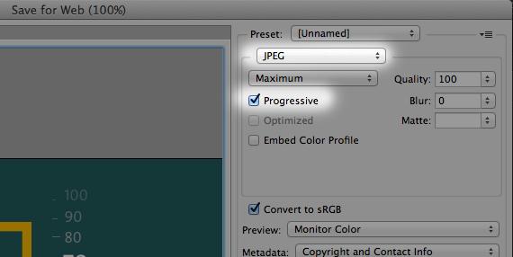 طريقة حفظ الصور Progressive في Adobe Photoshop