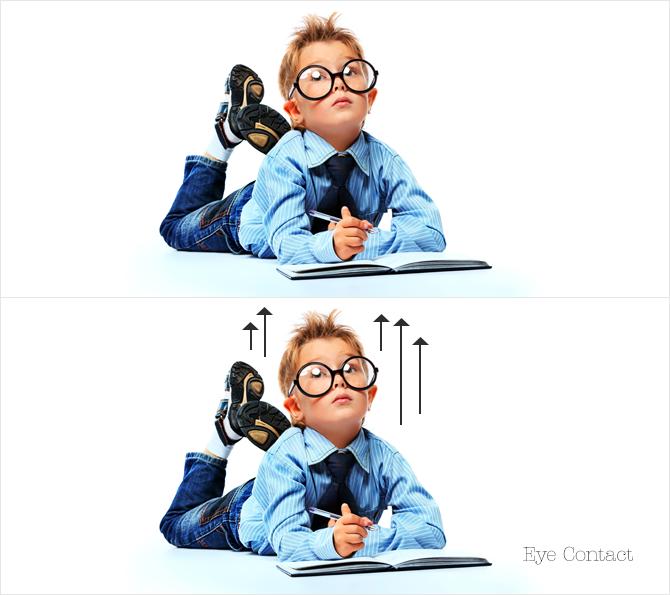 التواصل بالعين Eye Contact احد اهم معايير الصورة القابلة للاستخدام في الويب، ولها تأثير علي قرارات المصمم عندما يصمم واجهة اي موقع.