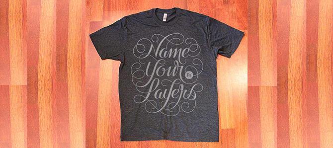 T-Shirt ليفكر المصمم دائماً بتسمي الطبقات اثناء عمله